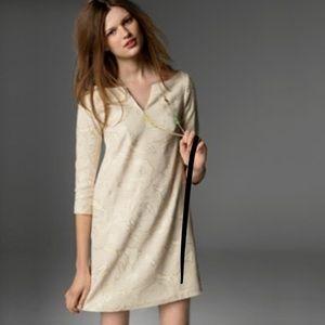J. Crew Laconia Linen Tunic Dress Gold Design Sz 0
